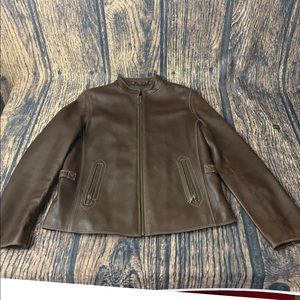 Tibor Luxe Leather Brown Cognac Riding Jacket  L